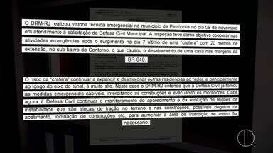 Laudo aponta relação entre obras do túnel de subida da Serra e o acidente da cratera - Laudo do DRM foi pedido pela Defesa Civil.