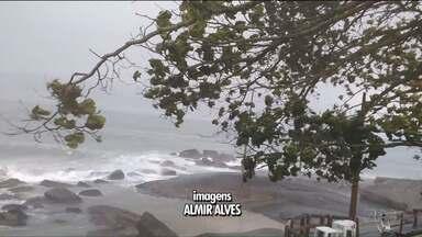 Cidades do litoral registram ventos fortes e granizo - Veja a previsão do tempo para os próximos dias.