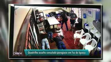 Consulado paraguaio é assaltado em Foz do Iguaçu - A ação dos bandidos foi registrada por câmeras de segurança.