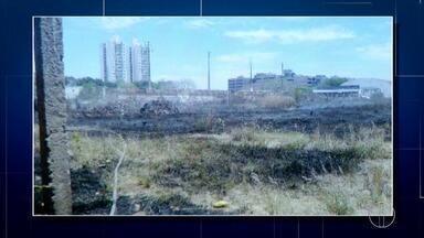 Princípio de incêndio atinge terreno na tarde deste sábado em Campos, no RJ - Assista a seguir.