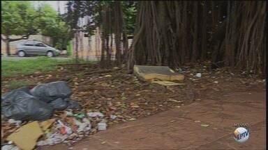 Moradores reclamam da sujeira em praça na Vila Tibério em Ribeirão Preto - Quem vive na região está deixando de frequentar o local.