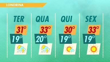 Terça-feira com previsão de chuva em Londrina - Apesar do tempo instável o calor deve aumentar.