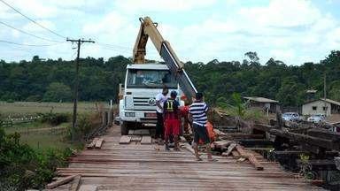 Ponte sobre o Rio Matapi na BR 156 no Amapá está com tráfego limitado - PRF vai interditar passagem das 9h às 11 e das 14h às 16h.