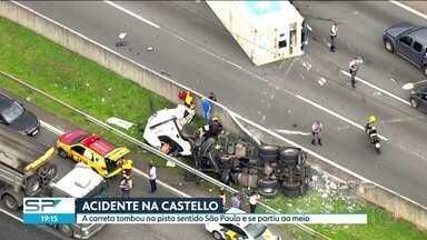Carreta tomba em pista da Rodovia Castello Branco e se parte ao meio - Acidente na Zona Sul interrompeu o tráfego no sentido São Paulo.
