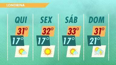 A quinta-feira deve ter tempo aberto em todo o Paraná - Mas no fim de semana a chuva pode voltar ao Estado.