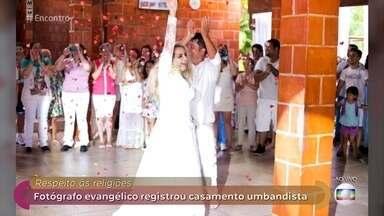 Fotógrafo evangélico registra casamento umbandista para promover a diversidade - Jaque e Fábio tiveram dificuldade para encontrar um fotógrafo para registrar a cerimônia por conta da religião