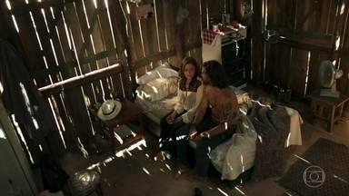 Mariano e Sophia namoram no alojamento do garimpo - Vilã afirma que não vai assumir romance com o garimpeiro