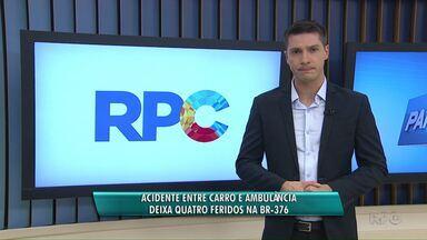 Quatro pessoas ficam feridas em acidente na BR-376, em Ponta Grossa - Carro e ambulância se envolveram na batida. Um dos pacientes da ambulância precisou ser levado ao hospital.