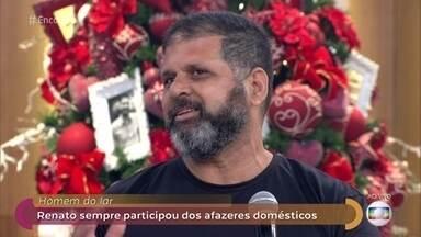 Fátima conversa com fuzileiro naval que é exemplo de 'Homem do Lar' - Renato cuida da casa, faz comida e até costura para as crianças ao lado de sua mulher.