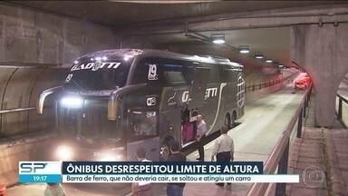Desrespeito ao limite de altura provoca acidente pela terceira vez no túnel Jânio Quadros - Pela terceira vez em menos de um mês, um veículo desrespeitou o limite de altura e provocou um acidente no túnel Jânio Quadros.
