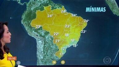 Alerta de temporias em regiões de MG, do ES, da BA e de MT - Confira a previsão do tempo para a quarta-feira (13) em todo o país.