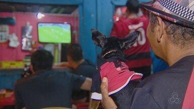Até cachorro sofre com a eliminação do Fla na Sul-Americana; conheça Mike Tyson - Final entre Flamengo e Independiente foi acompanhada por cão em bar de Manaus.