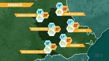 Deslocamento de frente fria pode provocar chuvas nesta sexta-feira (15) na região de PG - As temperaturas continuam altas.