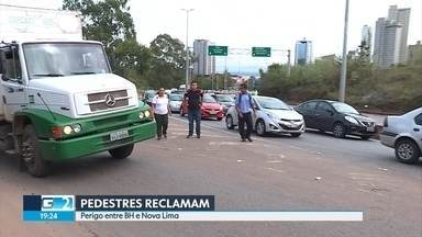 Pedestres reclamam de condições de trecho de rodovia entre BH e Nova Lima - Local não tem calçada, iluminação está ruim e o trânsito é uma confusão.