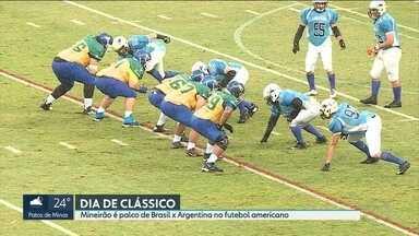 Mineirão é palco de mais um clássico entre Brasil e Argentina - Só que o jogo foi com a bola oval do futebol americano.