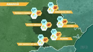 Terça-feira (19) vai ser de calor forte com possibilidade de chuvas na região de PG - Massa de ar quente ainda predomina sobre os Campos Gerais.