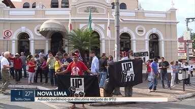 Moradores de Nova Lima protestam contra reajuste do IPTU - Audiência foi adiada na Câmara da cidade