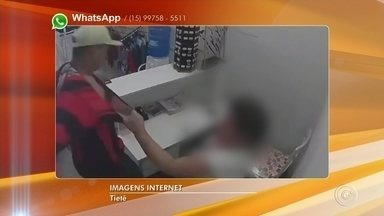 Vídeo mostra funcionária de loja sendo agredida com socos por ladrão durante assalto - Um vídeo divulgado pelas redes sociais nesta quarta-feira (3) mostra o momento em que uma funcionária de uma loja de roupas é agredida no rosto com socos durante um assalto, na rua Bela Vista, em Tietê (SP).