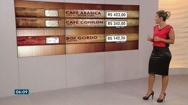 Café arábica fecha a R$ 423 a saca nesta quarta-feira (3) no ES; veja outras cotações - Saca do conilon foi comercializada a R$ 342.