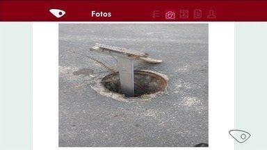 Moradores reclamam de bueiro aberto em rua de Linhares, ES - Prefeitura disse que vai enviar equipe ao local para sinalizar o trecho e providenciar a reposição da tampa ainda nesta quinta-feira (4).