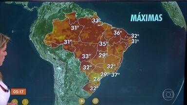 Previsão é de calor em boa parte do Brasil nesta quarta (17) - Segundo a meteorologia, tem previsão de chuva em Minas Gerais, Rio de Janeiro, Espírito Santo e quase todo o Nordeste.