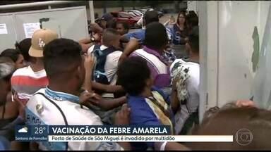 Multidão invade posto na Zona Leste em busca da vacina contra febre amarela - A busca pela vacina da febre amarela produziu cenas assustadoras em uma unidade de saúde da prefeitura em São Miguel, na Zona Leste da Capital. Teve discussão e gritaria; o posto de saúde foi invadido por uma multidão.