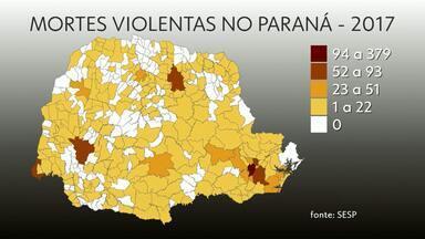 Taxa de homicídios cai no Paraná em 2017 - Mesmo assim, Cascavel foi uma das cidades com o maior número de crimes. No ano passado, 62 pessoas foram mortas na cidade.