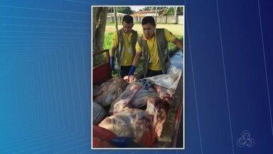 Carne transportada de forma clandestina é apreendida em Parintins, no AM - Ação ocorreu depois de uma denúncia.