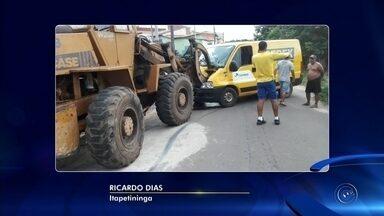 Trator bate de frente com van dos Correios em Itapetininga - Um trator colidiu de frente com uma van dos Correios no Jardim Casa Grande, nesta segunda-feira (29), em Itapetininga (SP).