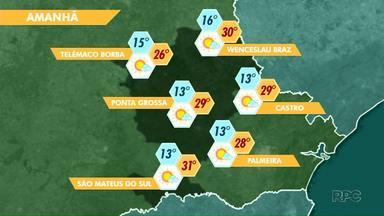 A previsão é de tempo seco nesta sexta-feira (02) na região de Ponta Grossa - As temperaturas sobem e o sol aparece em boa parte do dia.