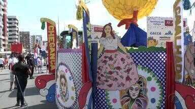 Tradicional festa do Pinto da Madrugada anima avenida em Maceió - Foliões se animam ao ritmo do trevo.