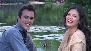 Confira os bastidores do piquenique romântico de Maria Vitória e Vicente, em Tempo de Amar - Bruno Ferrari e Vitória Strada mostram o o que rola por trás das câmeras