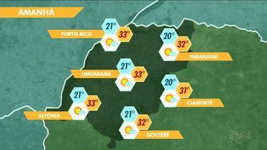 Quinta-feira deve ser de calor e tempo seco - Em Paranavaí, as condições devem mudar a partir de sábado