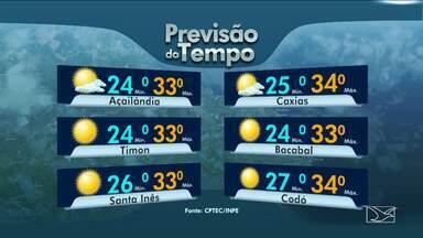 Confira as variações das temperaturas no Maranhão - Quinta-feira (15) será de tempo instável, muitas nuvens e possibilidade de chuva rápida no fim da tarde.