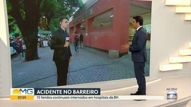 Quinze feridos em acidente com ônibus no Barreiro continuam internados - Oito deles, de acordo com a Fhemig, estão em estado grave.