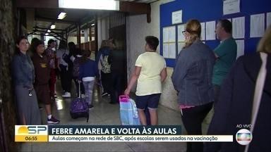 Alunos voltam às aulas com atraso em São Bernardo após mutirão contra febre amarela - Três distritos da Zona Sul começaram a vacinar contra febre amarela. Veja também como estão as campanhas de imunização no litoral do estado.
