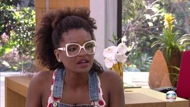 Nayara declara torcida por Viegas para ter um negro vitorioso - Jornalista comenta a polêmica dos participantes que carregam bandeiras e reafirma boa intenção ao 'apurar' informação contra Lucas