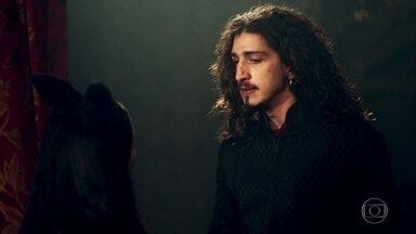 Lucrécia repreende Rodolfo por ter viajado sem aviso - Orlando afirma ao rei que Lucrécia é fiel. Rodolfo se surpreende ao ser recebido a tapas pela esposa