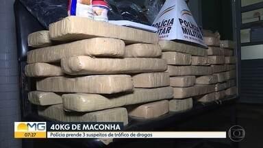 Três suspeitos de envolvimento com o tráfico de drogas são presos em BH - Segundo a PM, um dos criminosos é do estado do Rio de Janeiro.