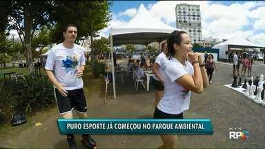 Puro Esporte: Paraná TV 1ª edição especial no Parque Ambiental mostra atrações do evento - O Puro Esporte começou ao meio-dia e vai até a meia-noite com mais de 50 modalidades esportivas.
