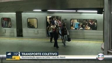 BDSP acompanha movimentação na Linha 1-Azul do Metrô nesta terça-feira - Repórter Tiago Scheuer pegou trem no Tucuruvi e foi até a Sé mostrando situação do transporte coletivo.