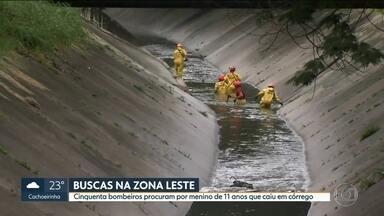 Bombeiros ainda procuram menino que caiu no córrego Rincão - Continuam as buscas por um menino de 11 anos que, de acordo com os bombeiros, caiu no córrego Rincão, na Zona Leste, na tarde de segunda-feira (26).