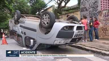 Dois carros se envolvem em acidente no bairro Gutierrez, na Região Oeste de BH - Batida foi no cruzamento das ruas Almirante Alexandrino e General Dionísio Cerqueira.