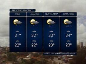 Meteorologia prevê chuva na região de Presidente Prudente - Confira como ficam as temperaturas nesta terça-feira (27).