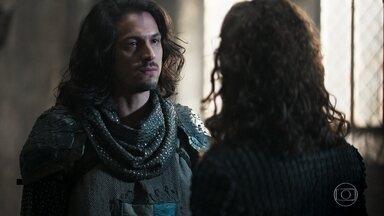 Afonso fica indignado quando descobre que Rodolfo quer inundar as terras dos Eranitas - Afonso tenta fazer Rodolfo mudar de ideia, mas seu irmão diz que vai continuar com o plano
