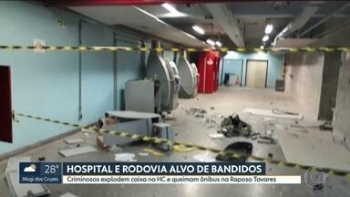 Hospital das Clínicas e Rodovia Raposo Tavares são alvo de bandidos - Criminosos explodem caixa eletrônico no HC e queimam ônibus na Raposo em ação que interditou a estrada sentido capital