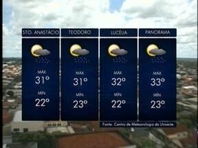 Meteorologia prevê chuva na região de Presidente Prudente - Confira como ficam as temperaturas nesta quarta-feira (28).