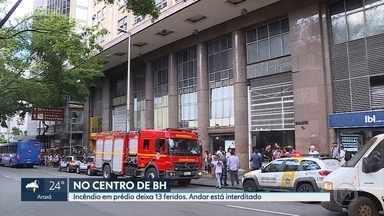 Treze pessoas ficam feridas em incêndio em prédio no centro de BH - Fogo foi no 18º andar do Edifiício Dantês, na Avenida Amazonas.