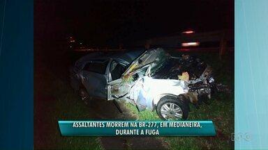 Assaltantes morrem, na BR 277, durante fuga - O acidente foi em Medianeira