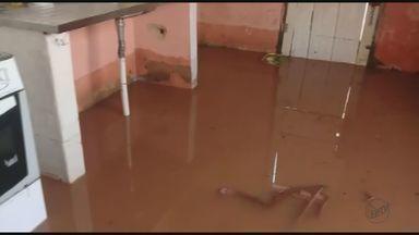 Chuva forte em Descalvado, SP, deixa duas casas alagadas perto de córrego - Prefeitura disse que foi um problema pontual e que como não houve interdição das casas, a assistência social do município irá ajudar as famílias no que precisarem.